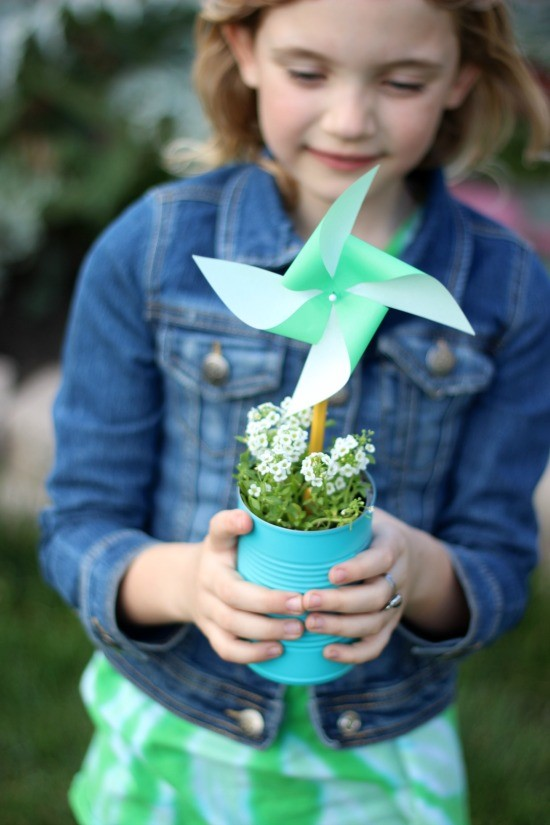 Girl with paper pinwheel