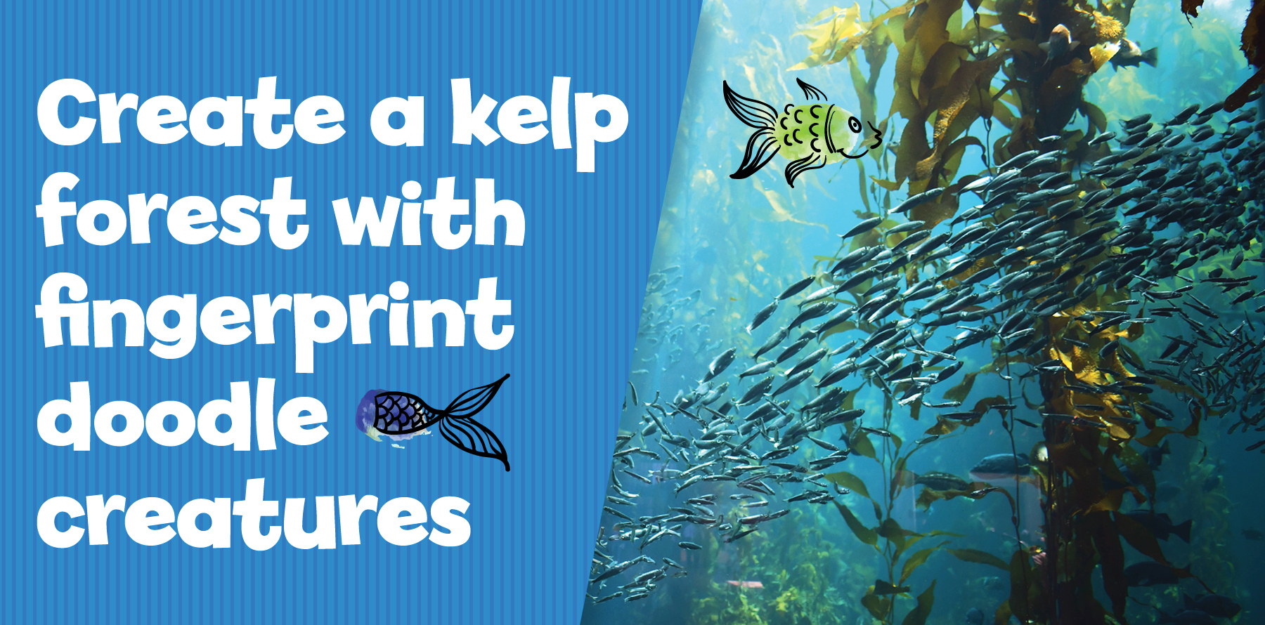 Create a kelp forest with fingerprint doodle creatures