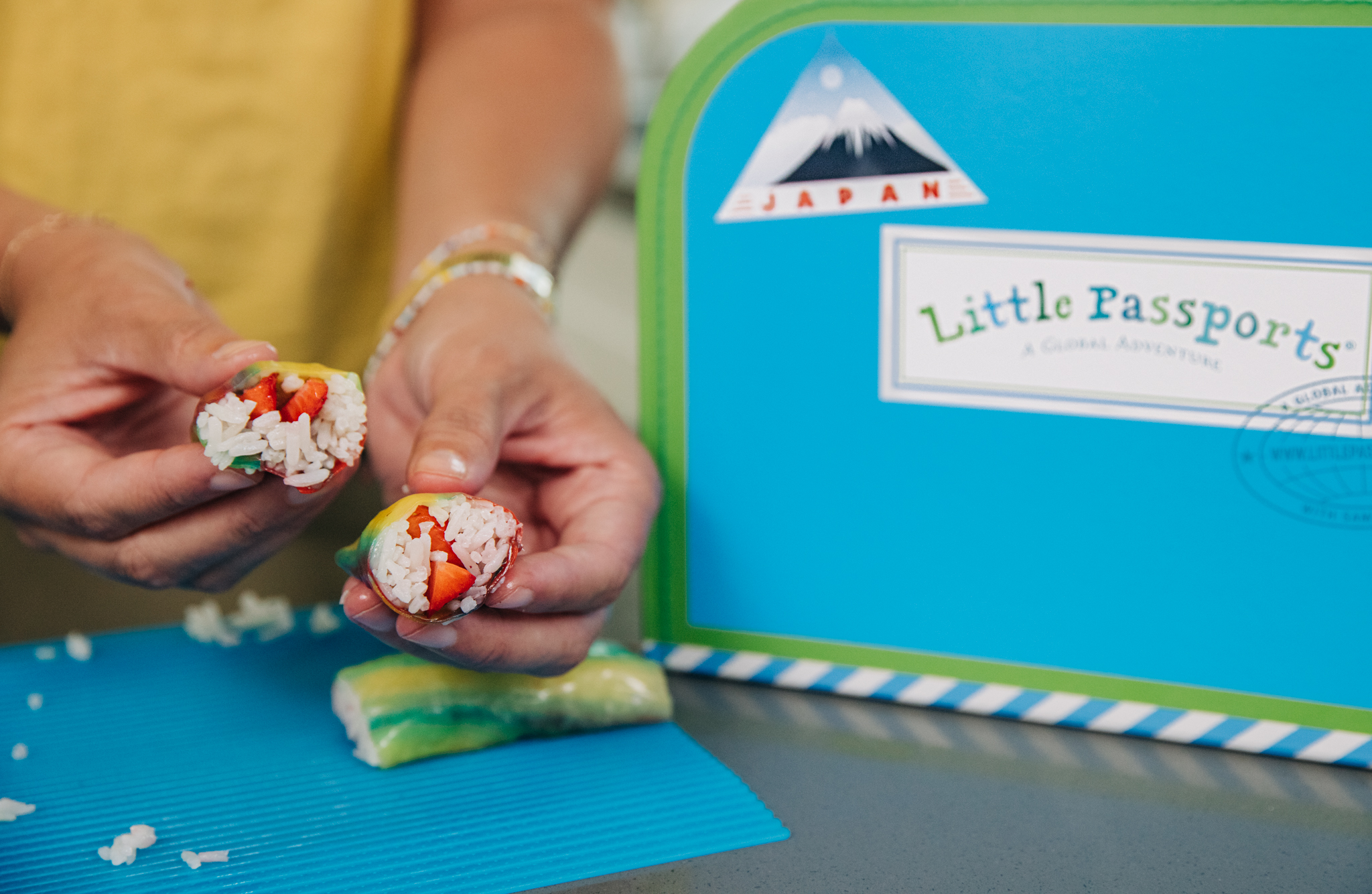 Enjoy the fruit sushi you made with Baby Boy Bakery and Little Passports!